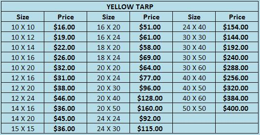 Aluminum Tubing Sizes >> Yellow Tarp | Marcos Canopies Inc